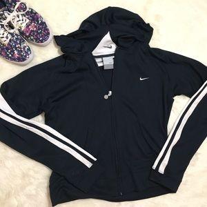 Nike Navy Zip-Up Hoodie Sweatshirt White Piping